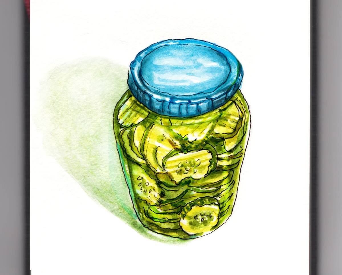 Day 16 - World Watercolor Month - A Big Jar Of Pickles - Doodlewash