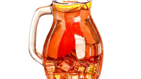 Day 2 - #WorldWatercolorMonth Ice Tea Pitcher In The Shade - #doodlewash