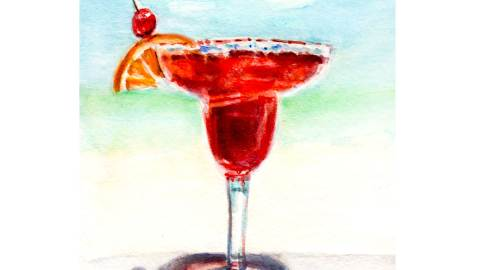 Day 22 - World Watercolor Month - Colors Of Summer Beach Drink - Doodlewash