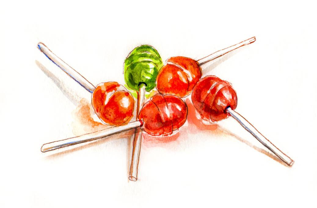 Day 28 - World Watercolor Month - A Handful Of Lollipops - Doodlewash