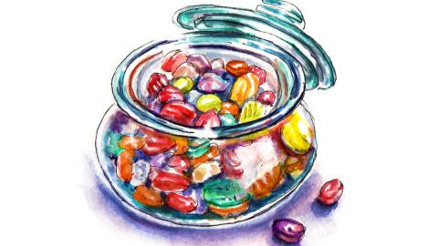 Day 29 - World Watercolor Month - All The Colors In My Palette - Glass Candy Bowl - Doodlewash