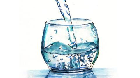 Day 5 - World Watercolor Month - Pouring Water Into Glass - Doodlewash