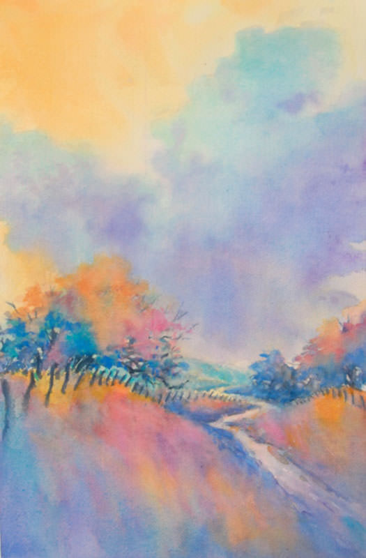 """""""Hill Country Back Road, No. 1″ is an original watercolor 15″ X 22"""" on 300-p"""