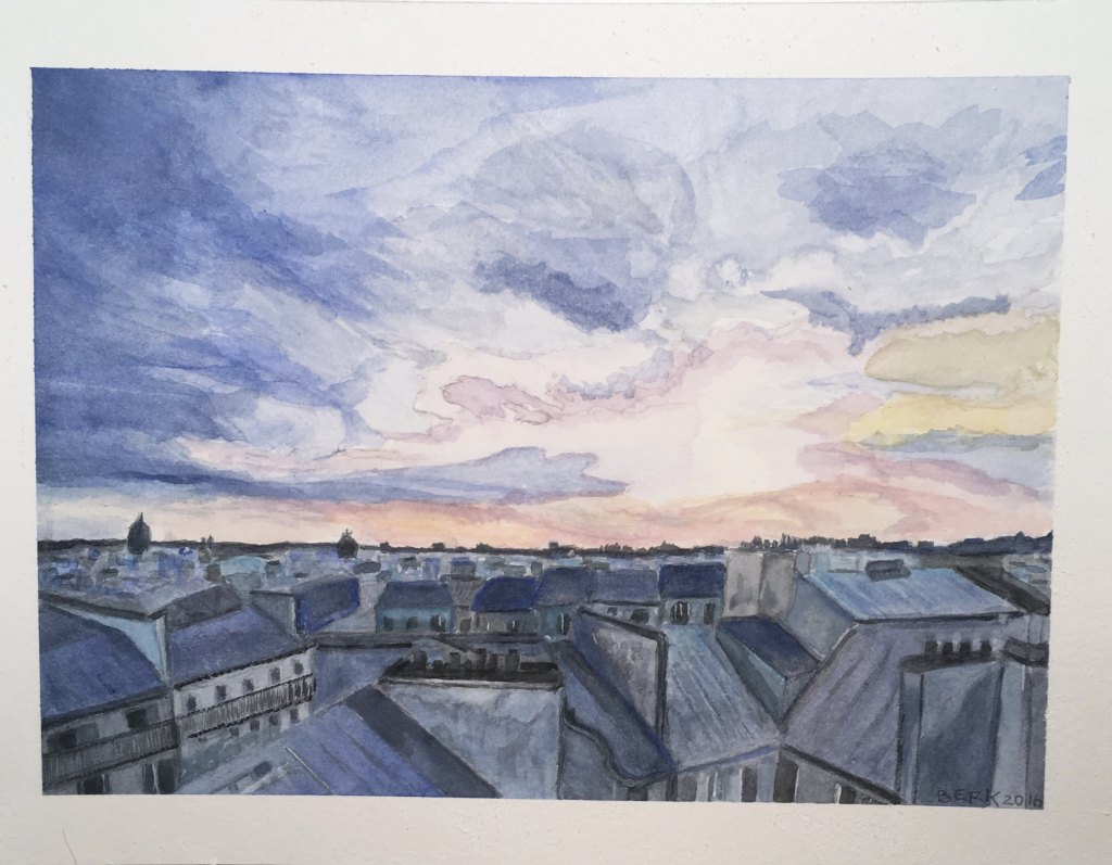 """""""On the Roof Feeling Blue"""" watercolor painting on CP paper 2016 IMG_1589"""
