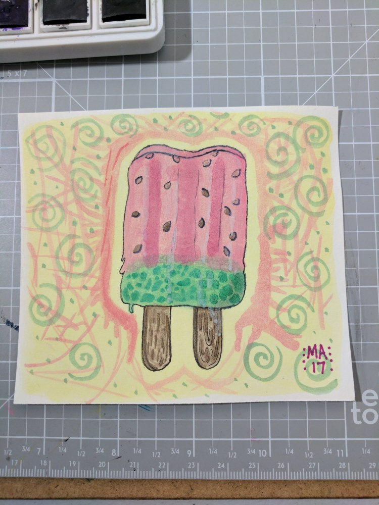 Popsicles. The Jerry Q watercolors that killed my pentel ink pen when I was inking the outline. Pret