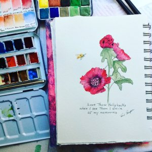 #worldwatercolormonth. Day 18. Hollyhocks were so common when I was a kid and now, not so much. We u