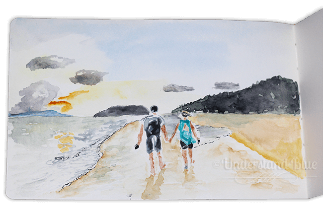 Day 10 – a 10 minute sketch from a photo a friend posted on FB of them on a beach in Thailand.