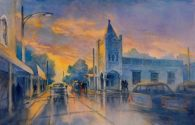 """""""Last Light High Street and Seventh"""", is an original watercolor 22″ X 15″ on"""