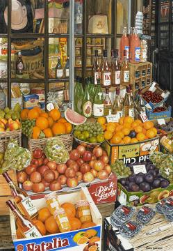 World Watercolor Month - Watercolor by Mark Garner - Cotswold Fruit Stand - Doodlewash