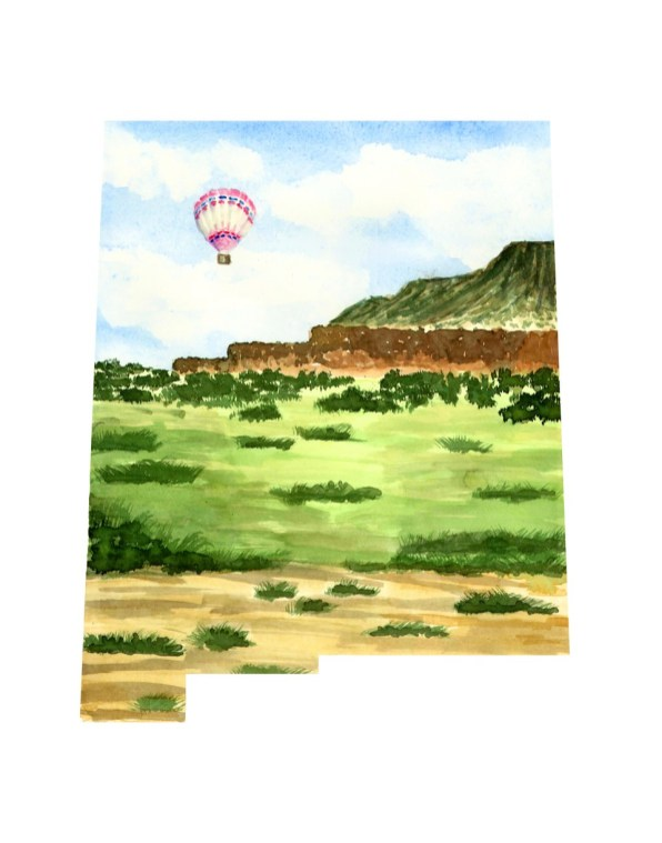 #WorldWatercolorMonth - Watercolor by TannaBelle - New Mexico Map - #doodlewash