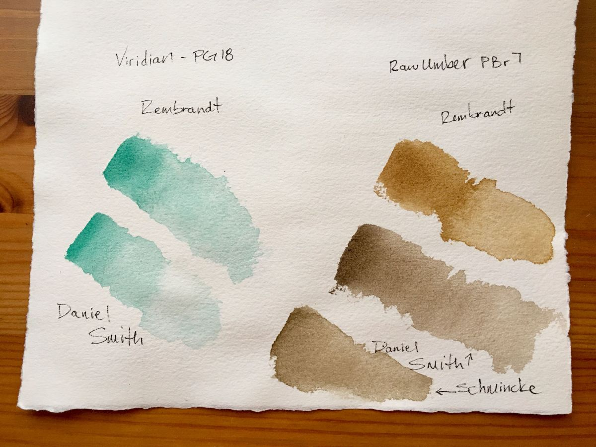 Royal Talens- Rembrandt Professional Deluxe Watercolor Box Set- 24 half pans with red sable size 6 brush. Veridian, raw umber, daniel smith, schmincke