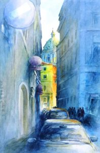 """""""Rome Wasn't Built in a Day"""", is an original watercolor 22″ X 15″ on 3"""