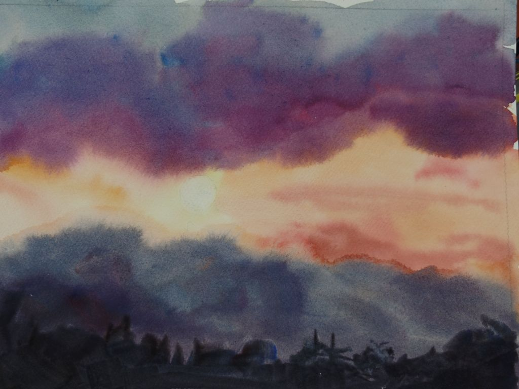 A quick sketch of a sunset I glimpsed a few days ago. 8×11″ Kilimanjaro #worldwatercolorm