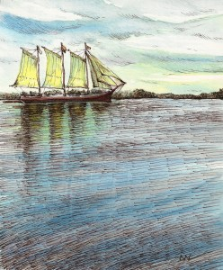 Day 15, I tried not to add any ink but I just couldn't help myself! Clipper ship Penobscot Bay