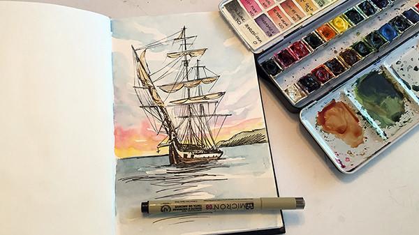 World Watercolor Month - Watercolor by Sandy Allnock - Ship Sketch - Doodlewash