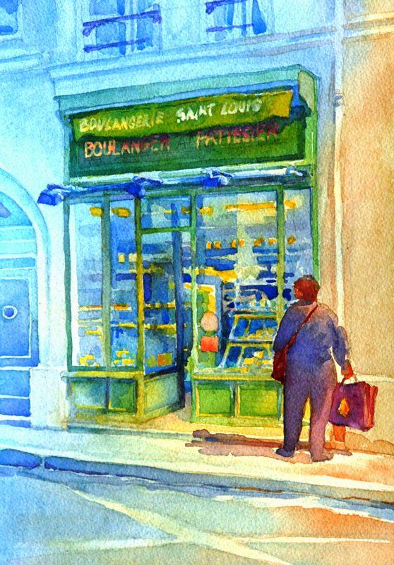 """St. Louis Boulangerie"", is an original watercolor 11″ X 15″ on 300-pound Ki"