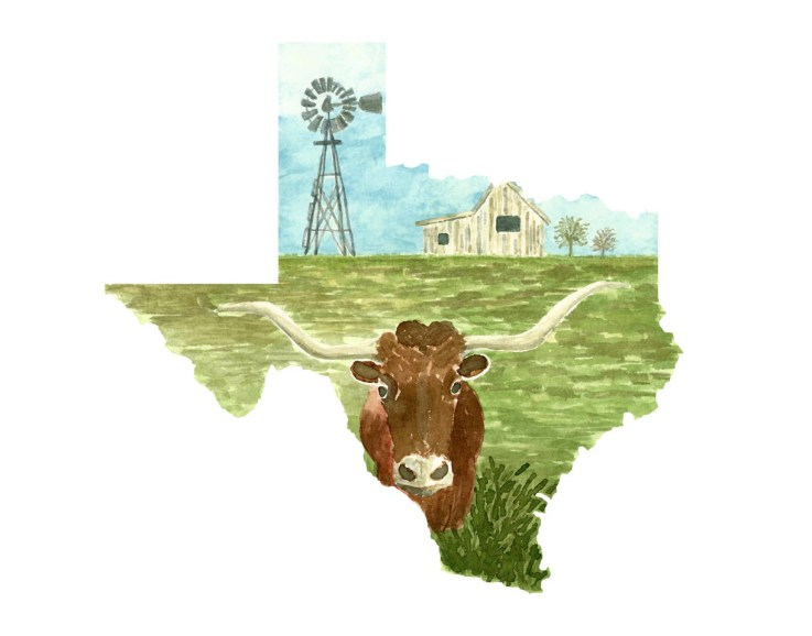 #WorldWatercolorMonth - Watercolor by TannaBelle - Texas Map - #doodlewash