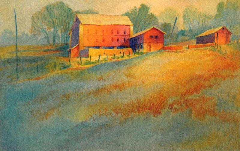 """""""Wynnorr Farm"""" is an original watercolor, 22″ X 15″, on 300-pound Kilimanjar"""