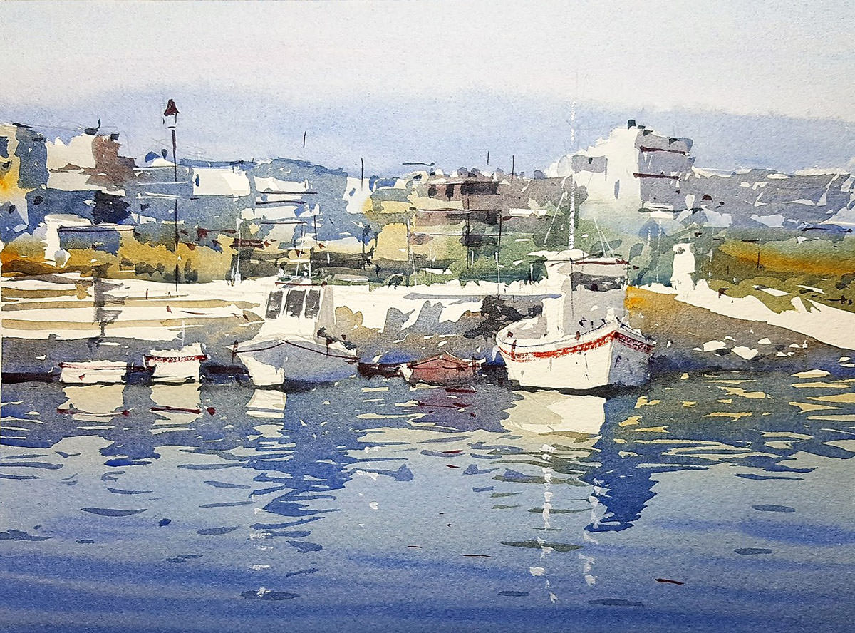 World Watercolor Month - Watercolor by Tim Wilmot - bristol savages exhibition cretan harbour - Doodlewash
