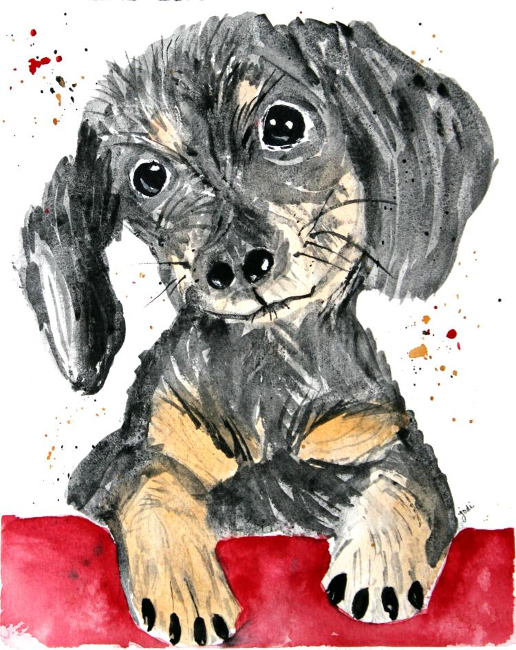 A Dacschund Puppy daschund puppy watercolor 8×10 140lb saunders