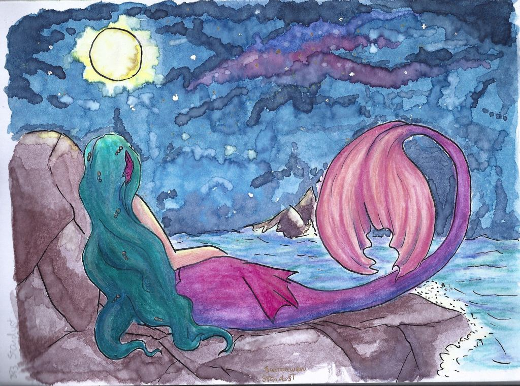Hi. This is something I create with watercolor and indian ink. I hope you like it. I'm new her