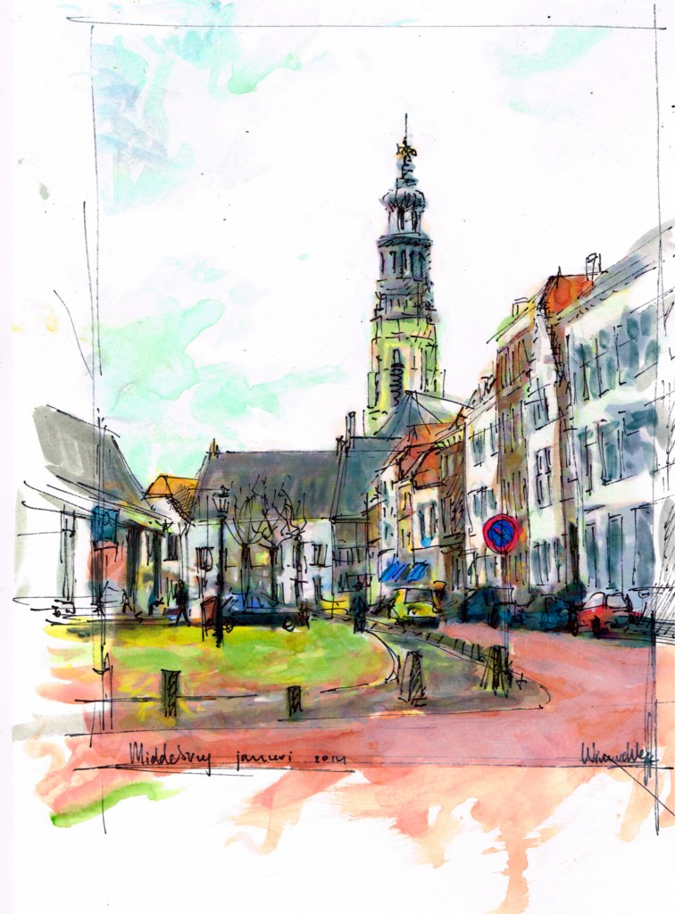 Middelburg, a beautiful old city in the Netherlands. I often draw and paint with watercolor and pen.