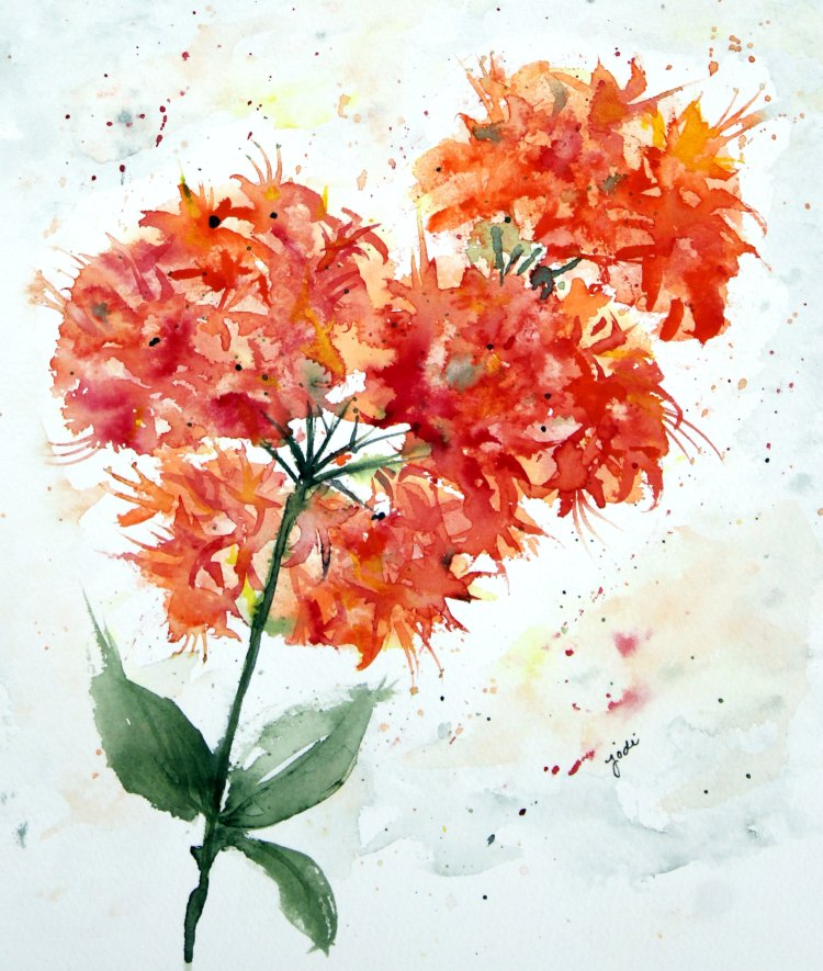 Orange Azalea orange azalea watercolor 8×10 140 lbs saunders