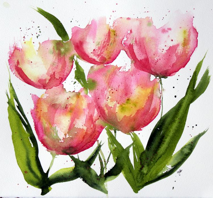 Pink Tulips pink apricot tulips impressionist watercolor 8×10 fabriano 140lb cold press