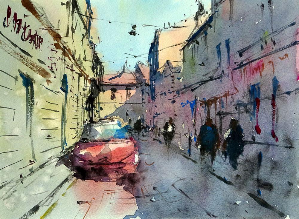 World Watercolor Month - Watercolor by Tim Wilmot - rue_porte_basse_bordeaux - Doodlewash