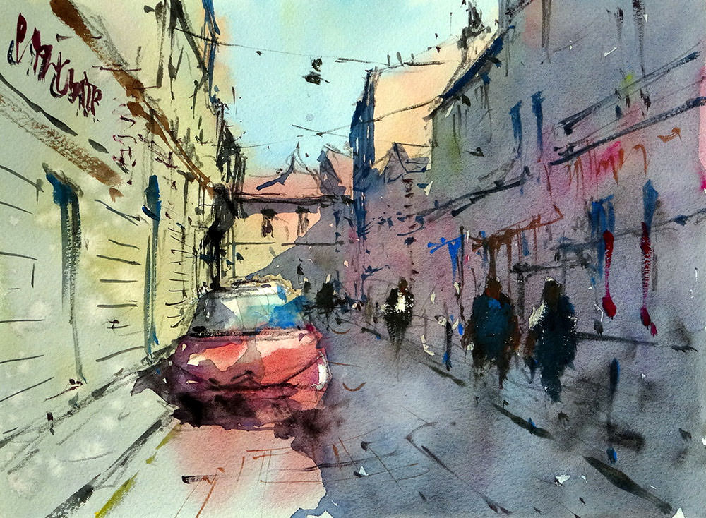 World Watercolor Month - Watercolor by Tim Wilmot - rue_porte_basse_bordeaux - Doodlewash
