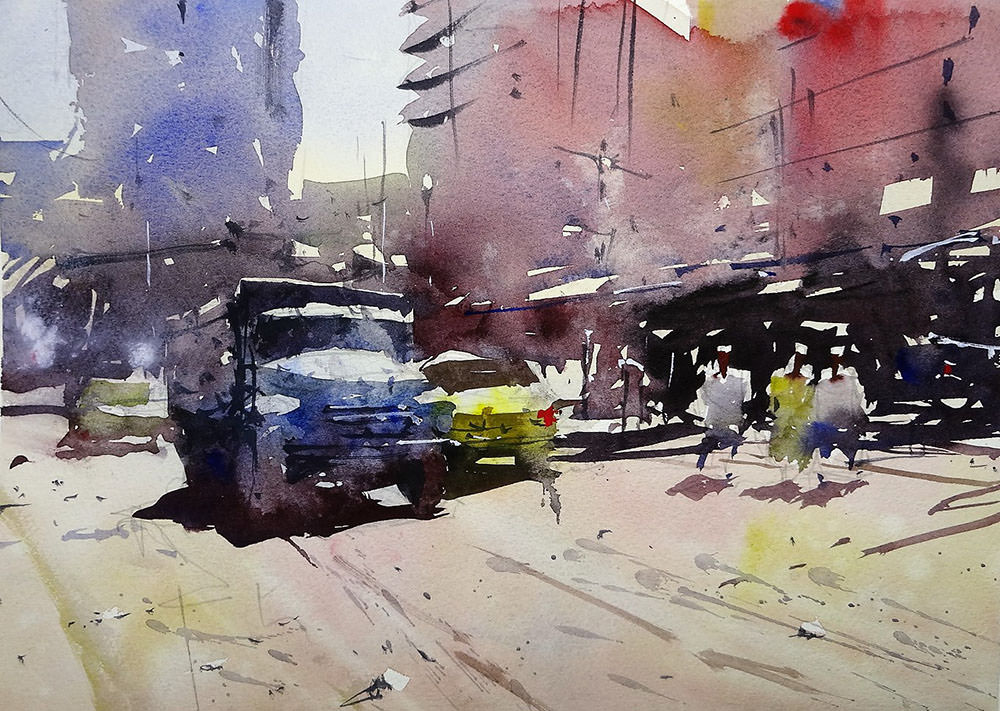 World Watercolor Month - Watercolor by Tim Wilmot - truck on dusty roads alexandria - Doodlewash