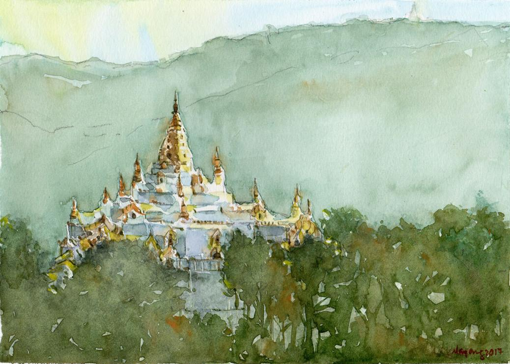 #WorldWatercolorGroup - Watercolor painting by Nay Aung - Taunggyi - Doodlewash