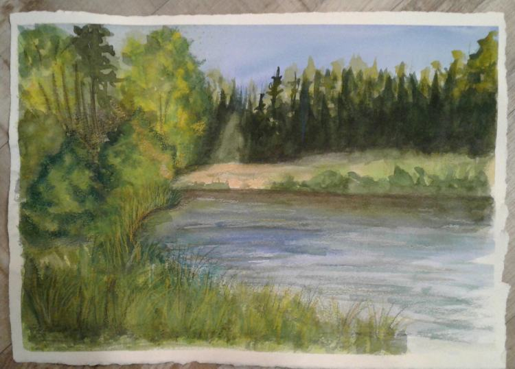 Day 42… Vacation. Today I decided to paint the theme for Angela Fehr's summer challenge,