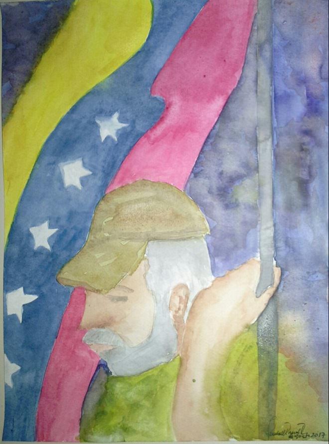 3. Abuelo con bandera. Grandfather with flag 3. abuelo con bandera al hombro