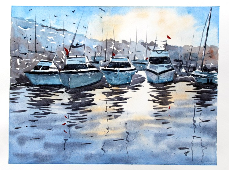 boats at sunrise Boats in Marina at Sunset Watercolor 11×14 Fabriano Artistico 140lb Cold Press