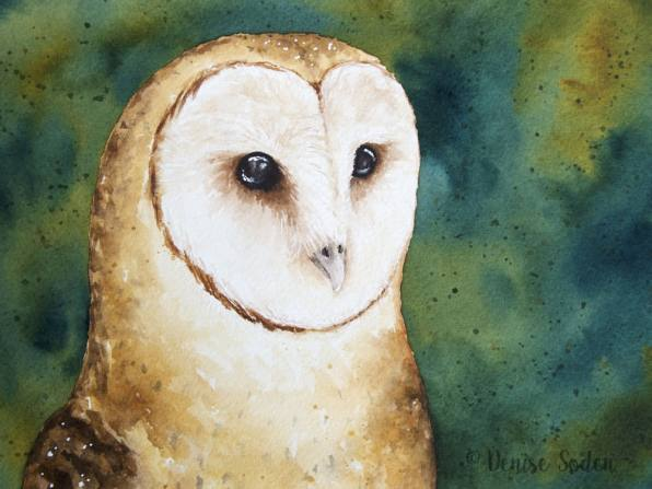 #WorldWatercolorGroup - Watercolor by Denise Soden - owl - Doodlewash