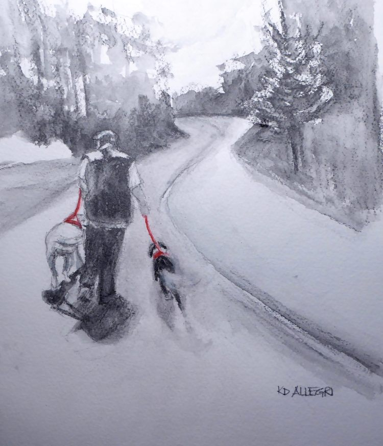 """Our Morning Walks,"" Graphite and Watercolor. I've been focusing on applying minim"