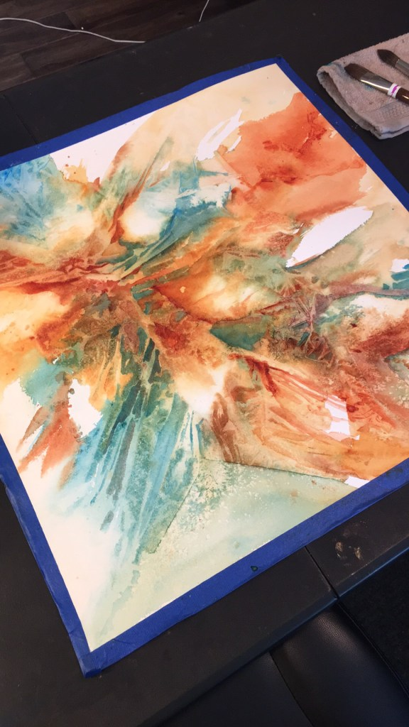 Abstract watercolor in process. FF5BA35D-E675-4321-A2A5-F8C0A6206484