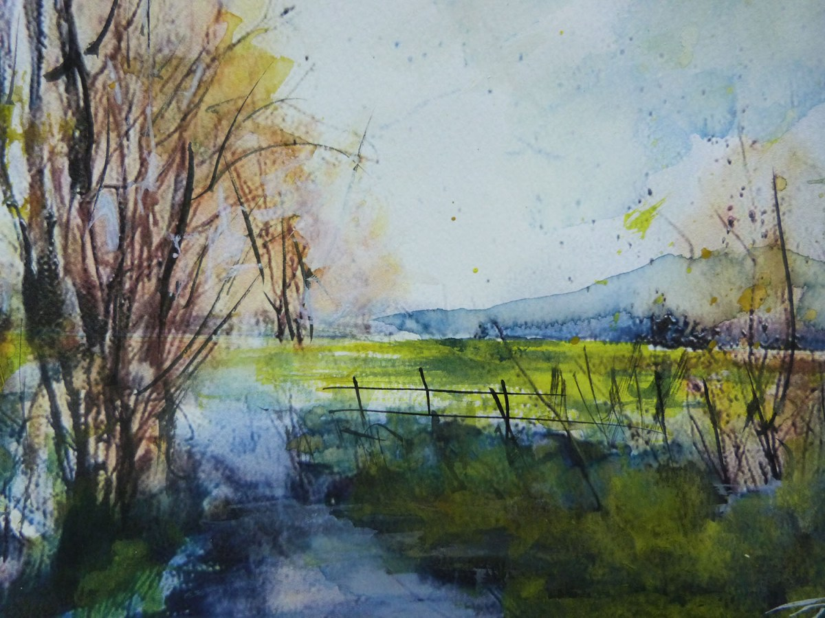 #WorldWatercolorGroup - 'Fields of Green' by Di White - Doodlewash