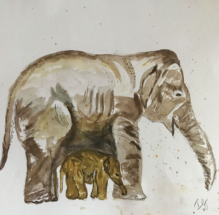 I painted several of the challenges in the month of August but have been tardy posting here. Elephan