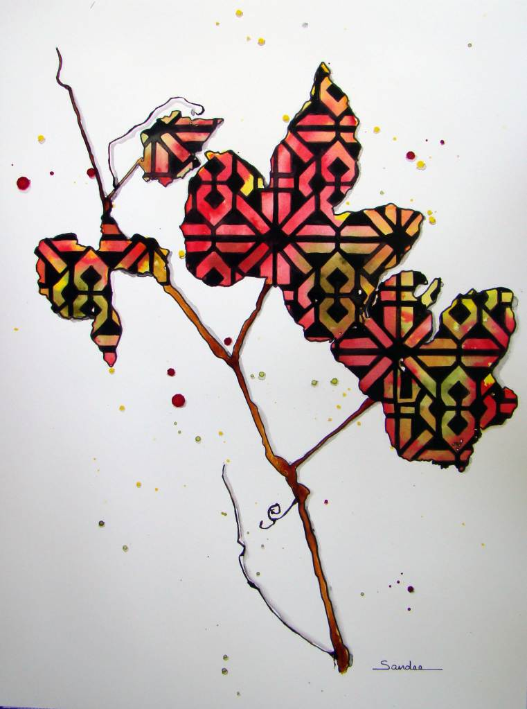 # Hahnemühle, #Cézanne, #ColourArte #StencilGirl Grapevine leaves by Sandee Setliff