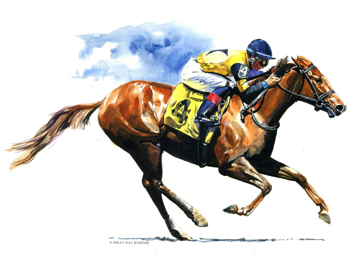 #WorldWatercolorGroup - horse racing - Watercolour by Tim Olden - Doodlewash