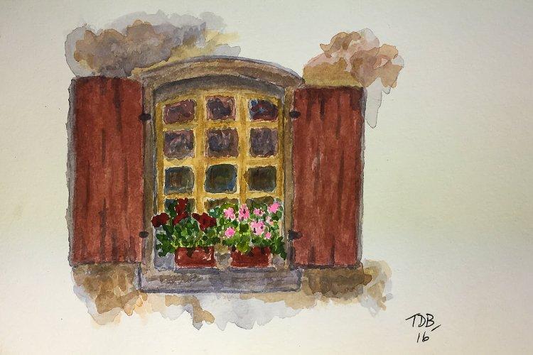 "6"" x 9"" inch watercolor – Tuscan Window #worldwatercolorgroup #tdbdraw #watercolor IMG_290"