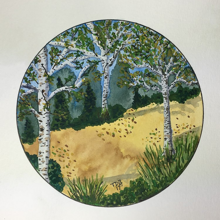 """Tried my first circle watercolor painting … I went with some early fall aspen trees on an 8"""" x 8"""