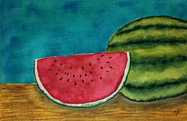 "8"" x 11"" Watercolor Watermelon – #worldwatercolorgroup #tdbdraw #watermelon #watercolor IM"