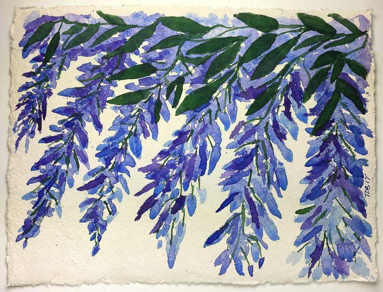 "9"" x 12"" watercolor – Wisteria on Nujabi 200lb. Handmade Watercolor Paper #nujabiwatercolo"