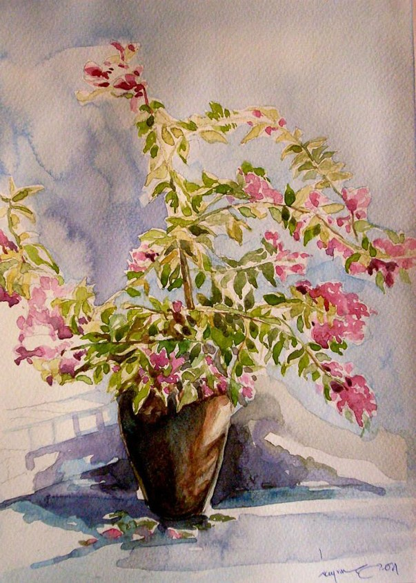 #WorldWatercolorGroup - Watercolor painting by Nay Aung - Flowers In Pot - Doodlewash