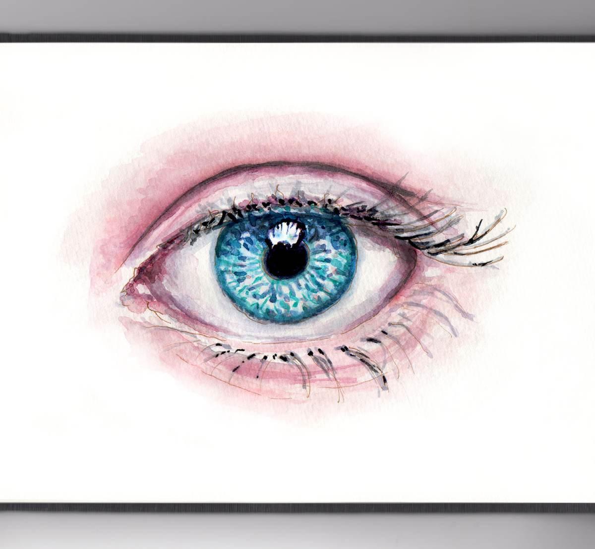 #WorldWatercolorGroup - Day 20 - My Favorite Body Part - Watercolor Blue Eyes - Doodlewash
