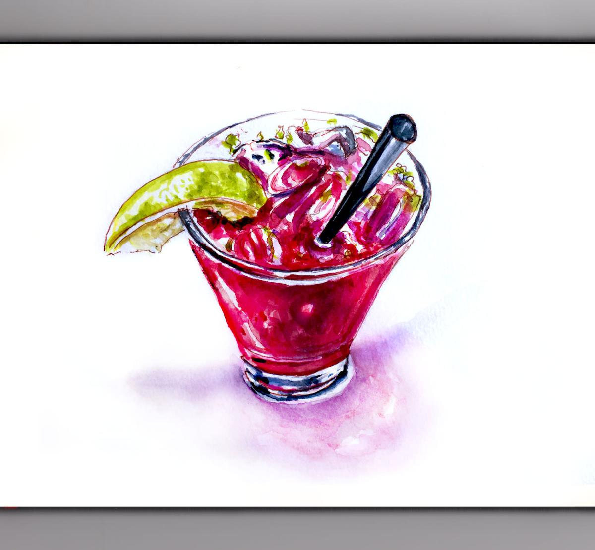World Watercolor Group - Day 25 - My Favorite Landmark - Blackberry Mojito - Laguna Beach - Doodlewash