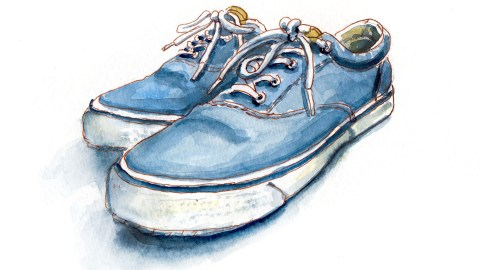 #WorldWatercolorGroup - Day 28 - My Favorite Shoes - Sperry Sneakers - Doodlewash
